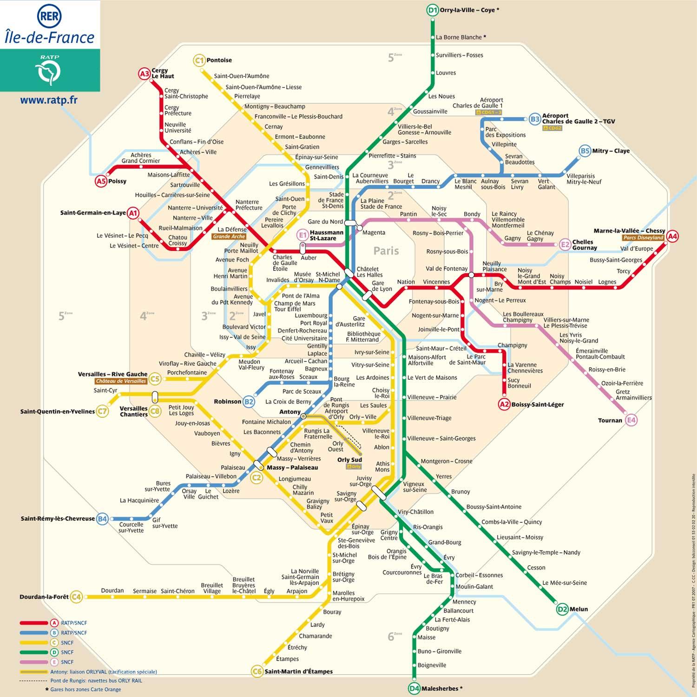 mapa de RER de París