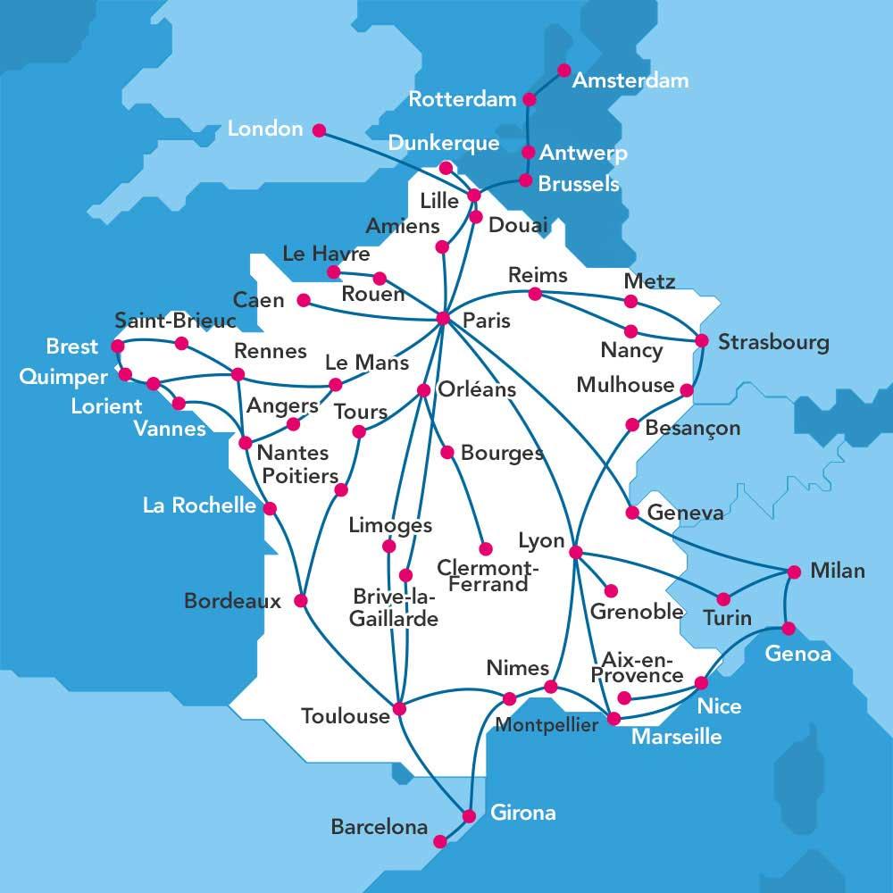 Mapa de rutas de trenes TGV y destinos en Francia