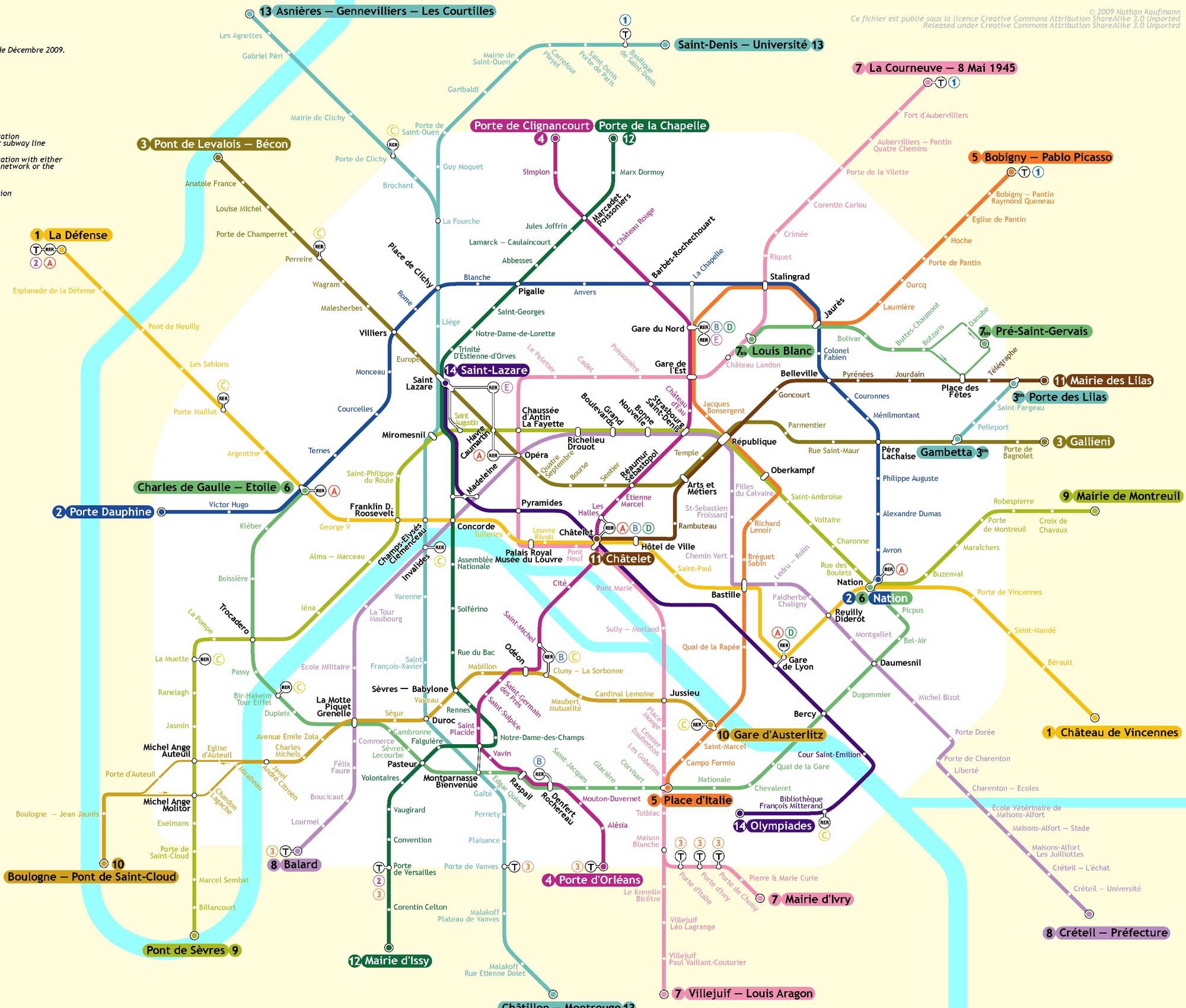 mapa de Metro de París