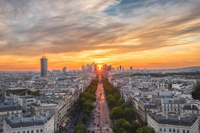 Vistas desde Arco del Triunfo de París